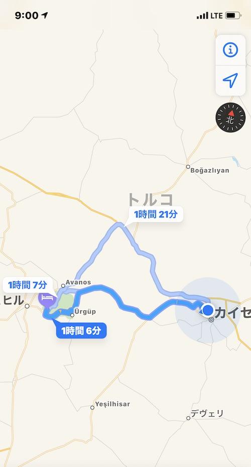 カイセリ空港から宿までの地図